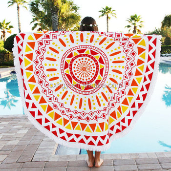custom Large microfiber beach towel round