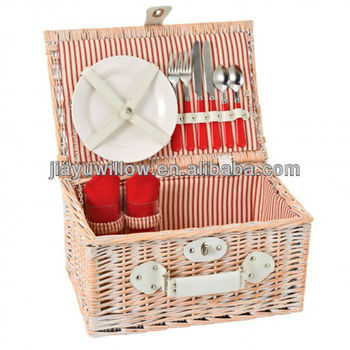 Wicker Picnic Basket Set For 2 Persons Sets