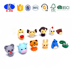 Mini Animal Shaped Custom Rubber Fancy Cute 3D pencil eraser For Gift