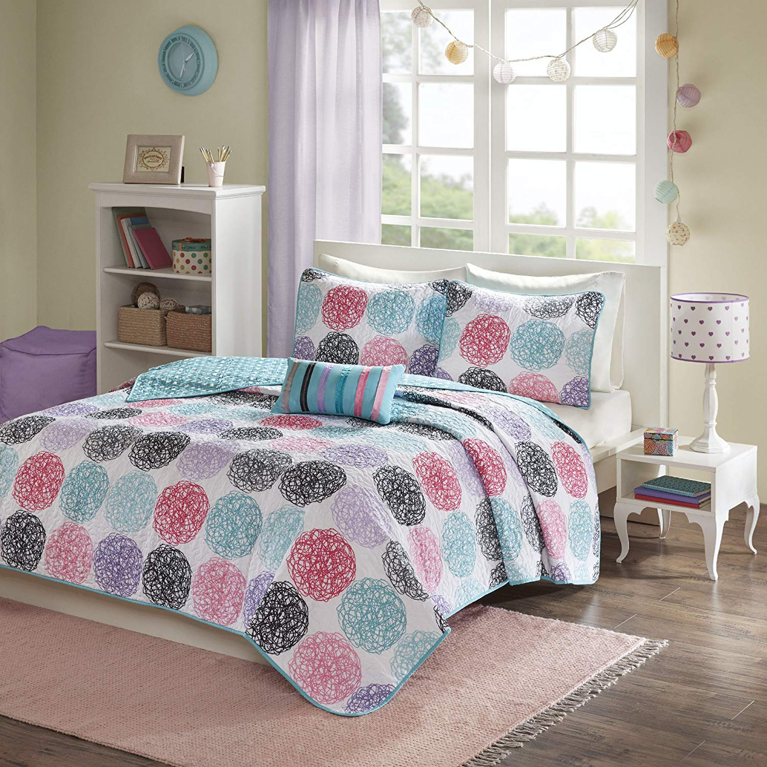 Ln 4 Piece Kids Purple Pink Quilted Coverlet Full Queen Set, Black Blue Geometric Winery Bedding Medallion Doodled Circles Polka Dot Reversible For Girls Bedroom Multi Soft Cozy, Polyester