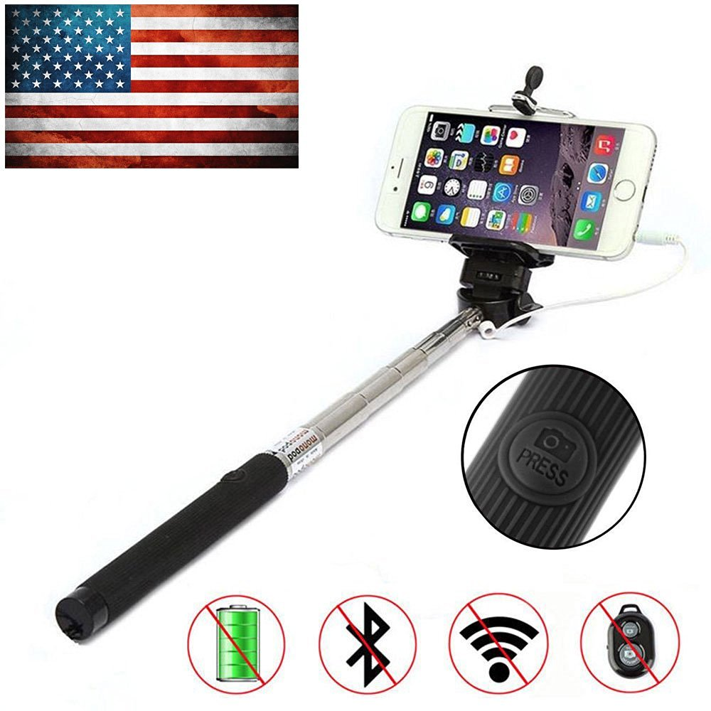 Bestdeal® NEW Extendable Wired SELFIE Stick with INTEGRATED Remote Button and Universal Phone Holder Suitable for Samsung Galaxy Fame & Grand & Grand 2 & Grand Max & Grand Neo & Grand Prime & J1 & K zoom & Light & Mega 2 & Nexus & Nexus CDMA & Note & Note 3 & Note 3 Neo & Note 4 & Note Edge & Note