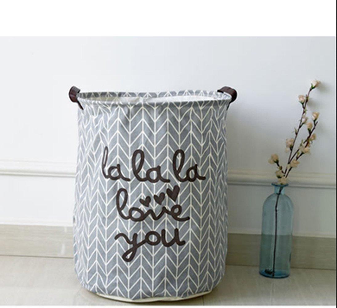 WEISHY Large Zakka Cotton Fabric Laundry Storage Household Laundry Bucket Debris Storage Barrels (gray)