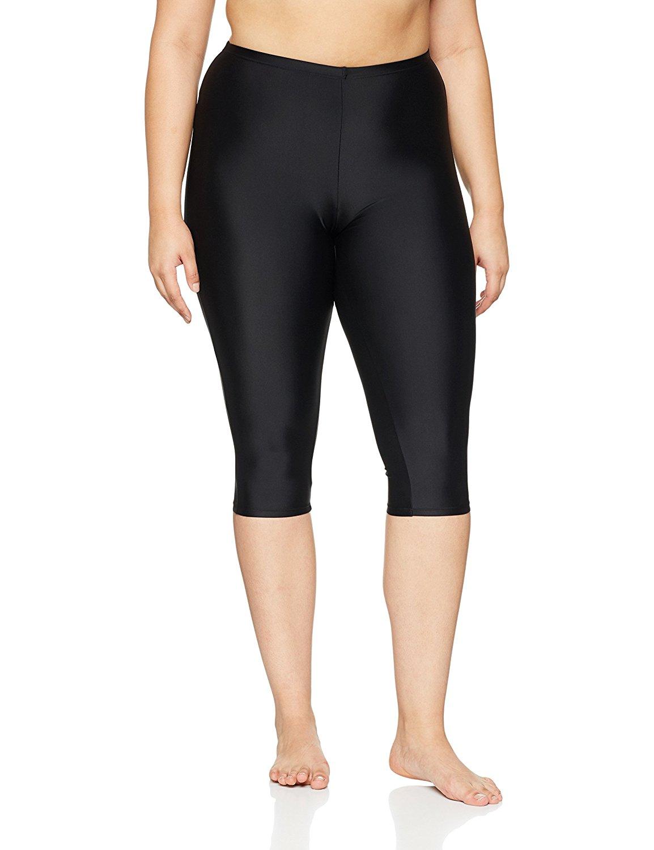 fc878a99609d9 Get Quotations · Ulla Popken Women s Plus Size Capri-Length Swimming  Leggings 708671