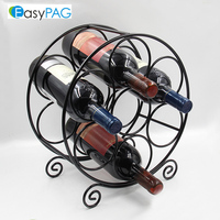 EasyPAG modern design 7 bottle metal round shape corner wine rack