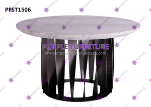 Stainless Steel Side Table with Marble Top