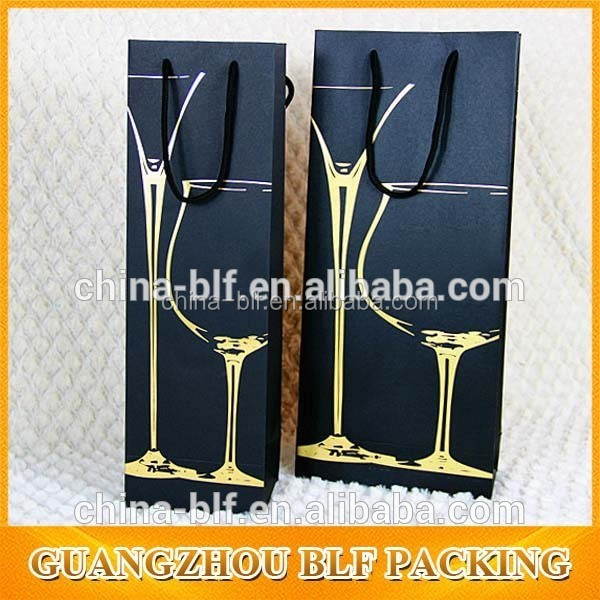 custom hot stamping Packaging paper wine bag