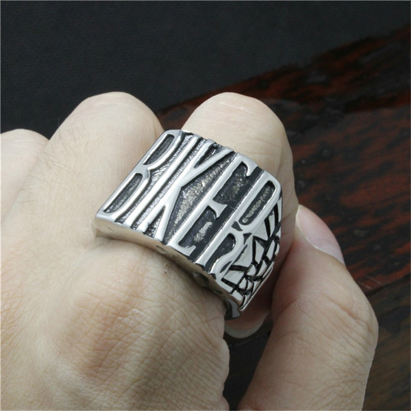 316l Stainless Steel Silver Biker Ring Mens Motorcycle
