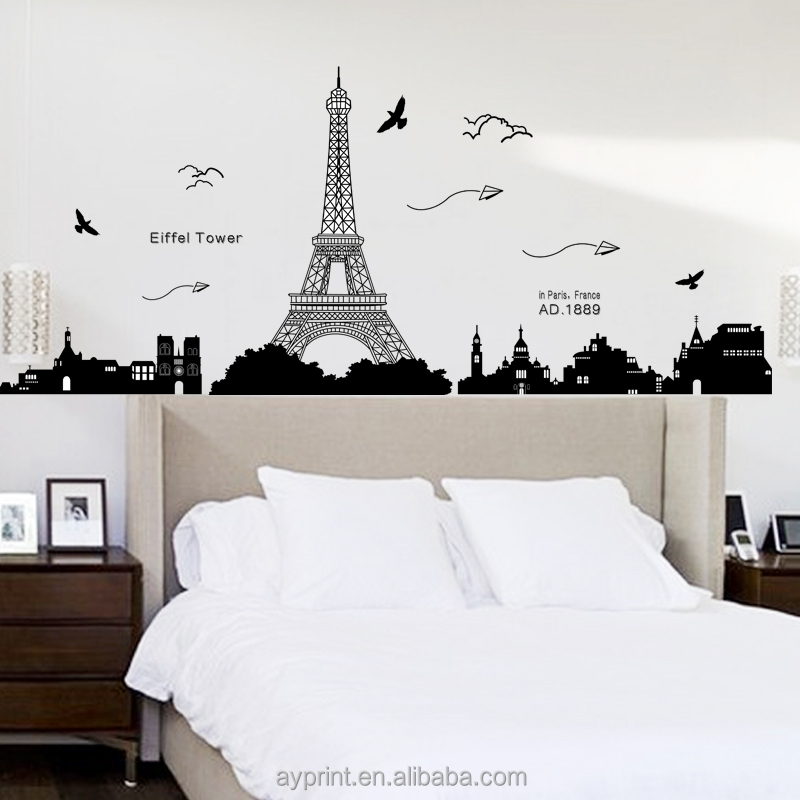 Kk049 Eiffel Tower Wall Sticker Removable Wall Decal - Buy Paris Wall  Decal,Vinyl Wall Decal,Transparent Wall Decal Product on Alibaba.com