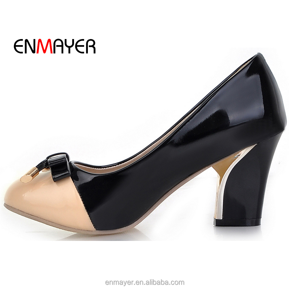 Sweet girl good price patent PU color matching low chunky heel footwear low chunky heel footwear