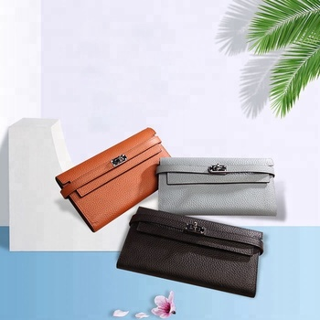 Envelope Cheap Multicolor Fashion Genuine Cowhide Leather Women Wallet