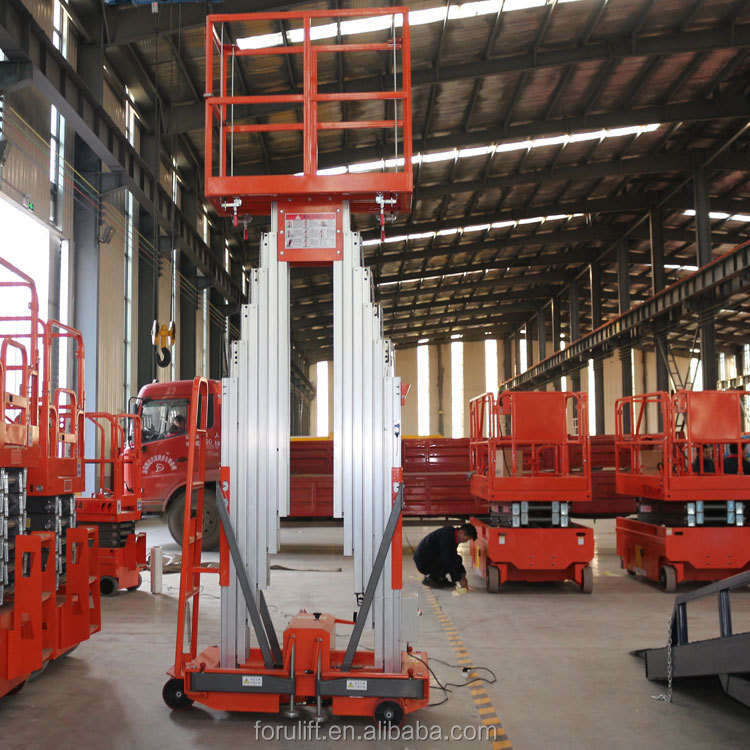 Double mast 14m aluminium alloy man lift