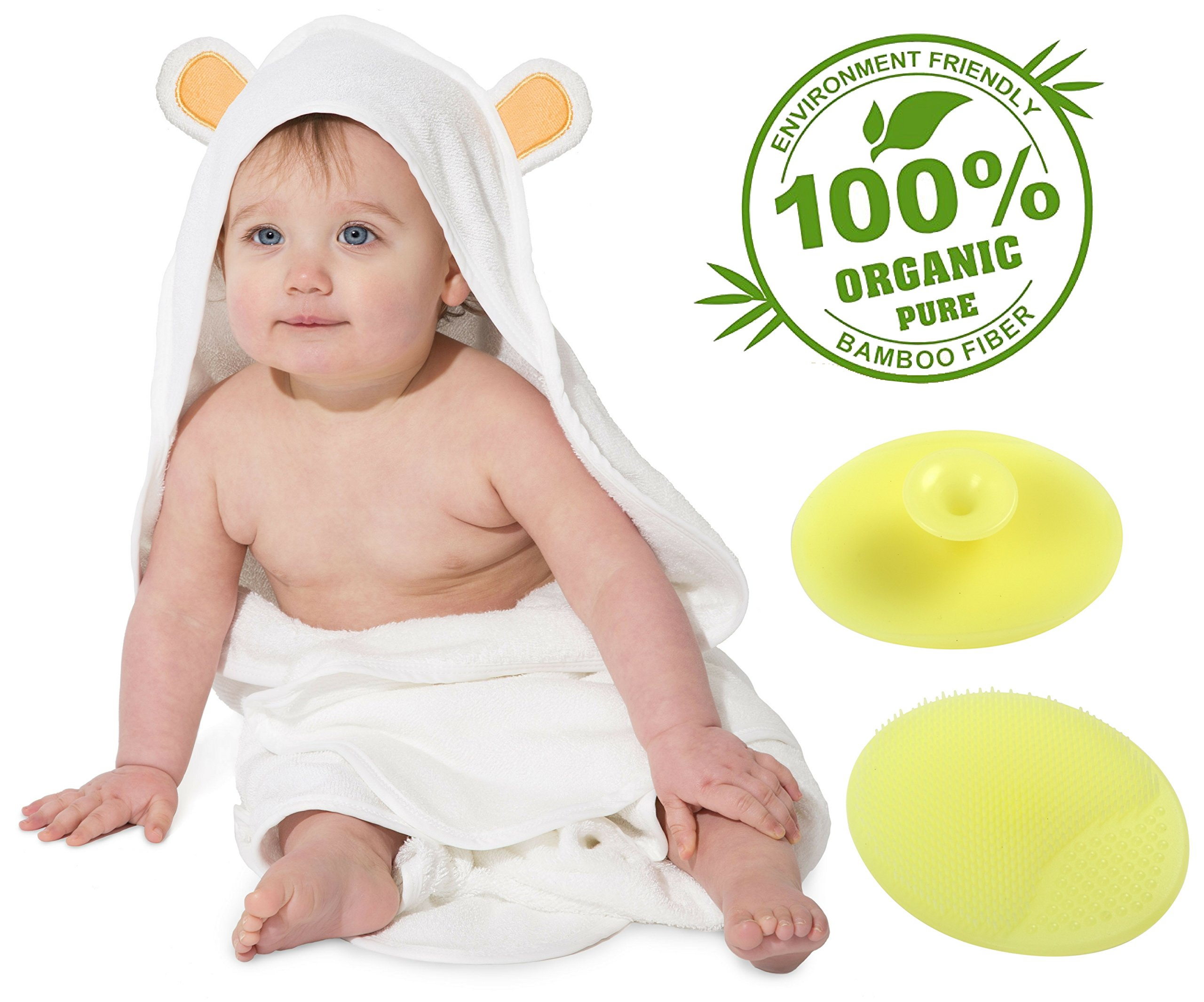 Baby Hooded Towel Organic Bamboo With Silicone Hair & Scalp Brush | Hypoallergenic, Antibacterial, Comfy, Soft, Plush, Oversized 35x35'', Absorbent | For Girls, Boys, Baby Showers, Beach, Bath & More