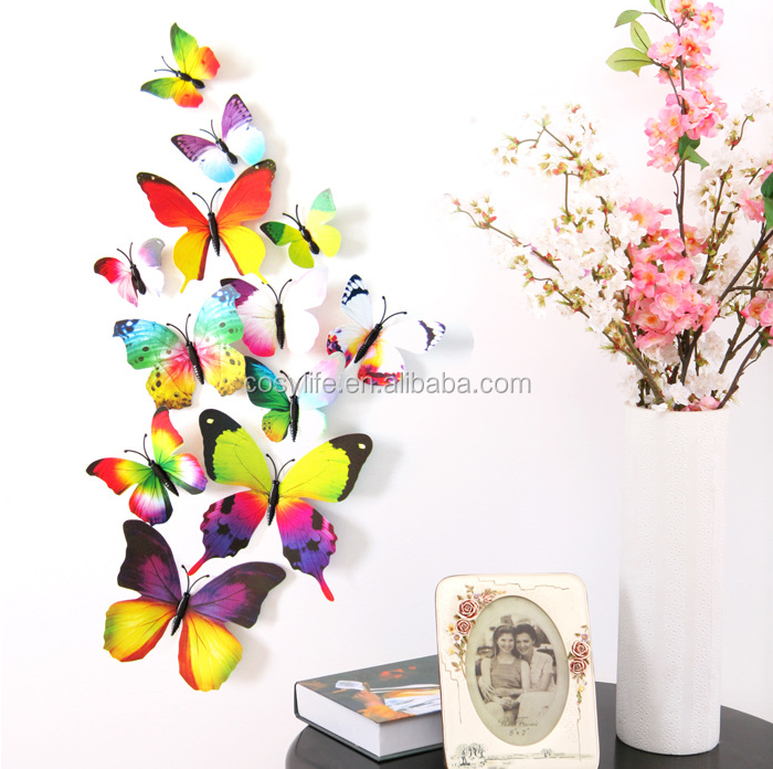 Hot Sale Home decor with pin colorful Butterfly Curtain stickers 12pcs PVC 3D Butterfly Wall stickers