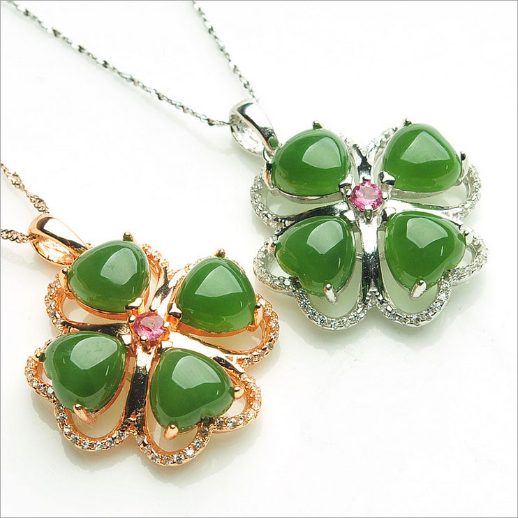 New 925 sterling Silver Inlaid Rose Gold Fashion Hetian Jasper Necklace Flower Clovers Women Pendant Wedding Fine Jade Jewelry