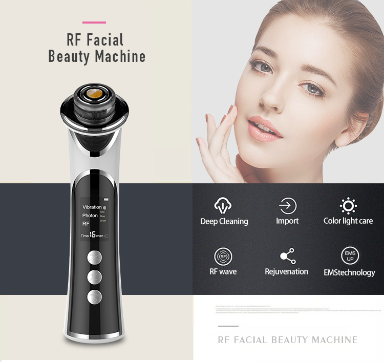 Multifunctional beauty equipment microcurrent face lift machine RF galvanic facial lifting instrument