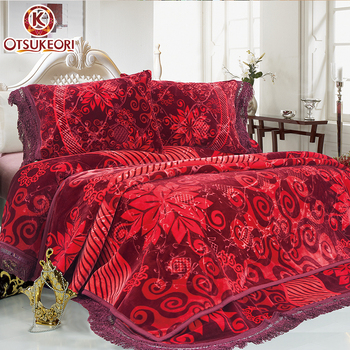Thick 7kg King Size Double Sided Turkey Embossing 4pcs Bedding Set