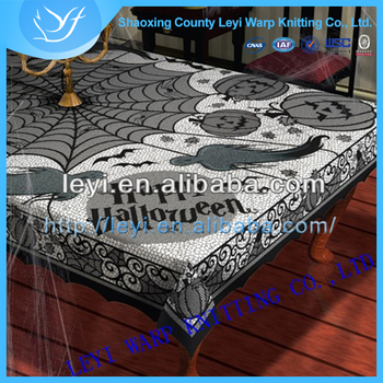 wholesale china shaoxing textile halloween midnight black spider web lace tablecloth - Halloween Lace Fabric