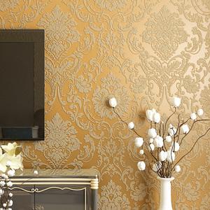 Luxury gold 3D European Damascus wallpaper bedroom living room TV background restaurant hotel beige Blue green wallpaper