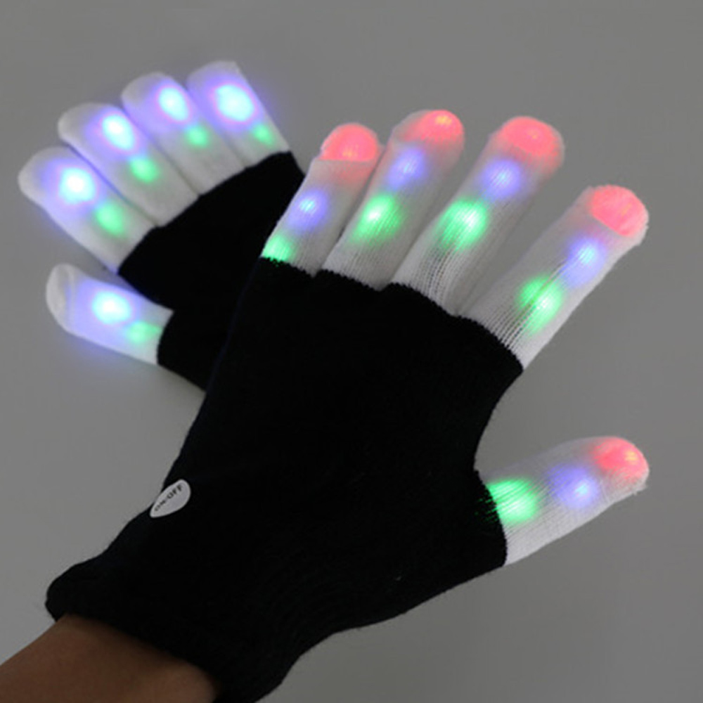 LGL-02 2016 new & hot sale halloween Christmas LED Black Glove/Flashig White Finger halloween led gloves promotion gif wholesale
