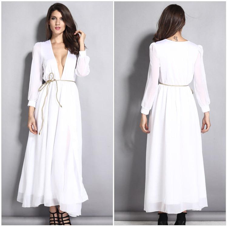 0a5967a132 Turmec » long sleeve v neck maxi dress with split