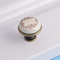 classical antique brass door hardware bedroom furniture cabinet porcelain flower pulls ceramic handles and knobs