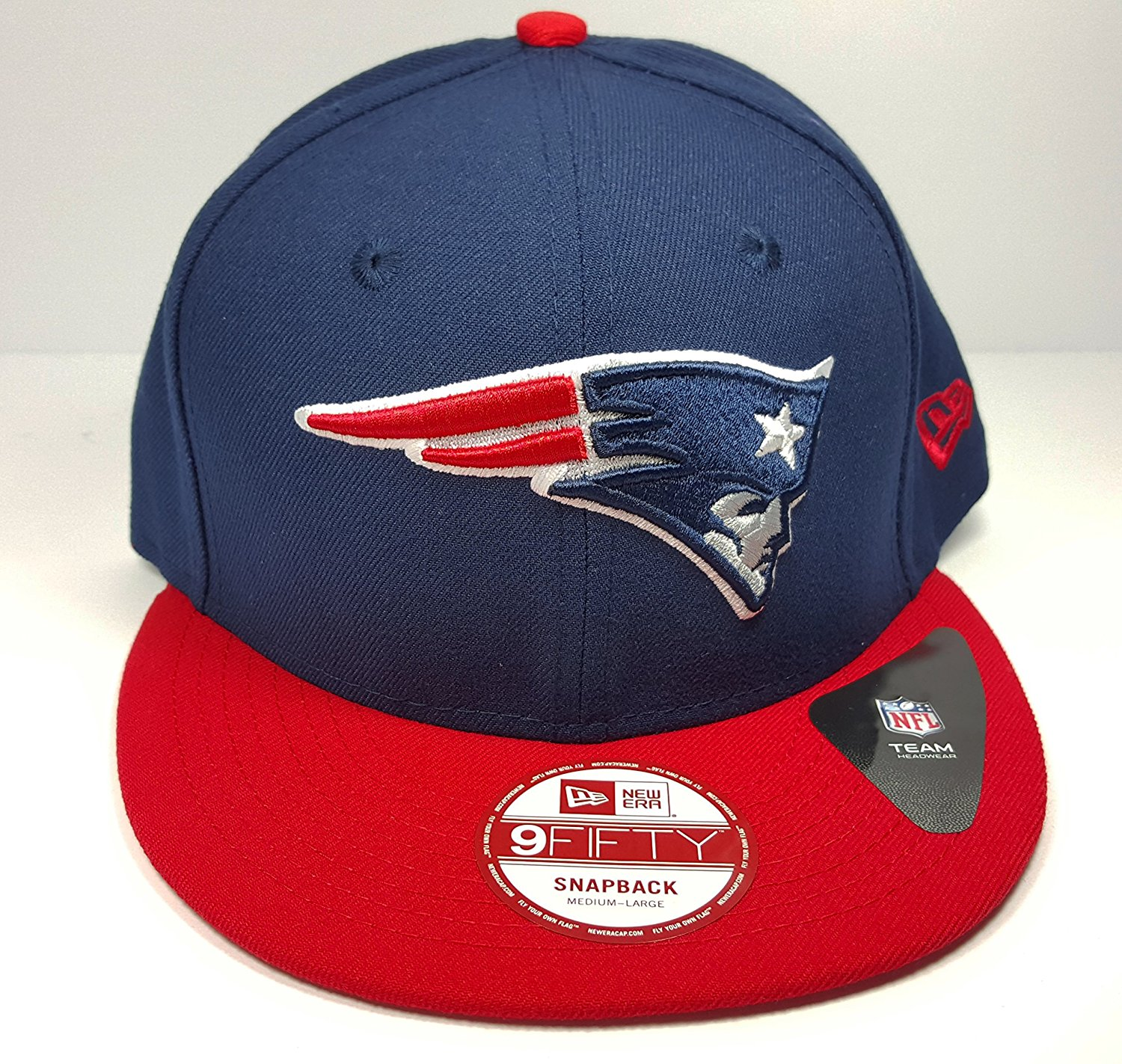 new style 679c7 d6726 Get Quotations · New Era New England Patriots 9Fifty Bind Back Blue On  Field Adjustable Snapback Hat Cap NFL