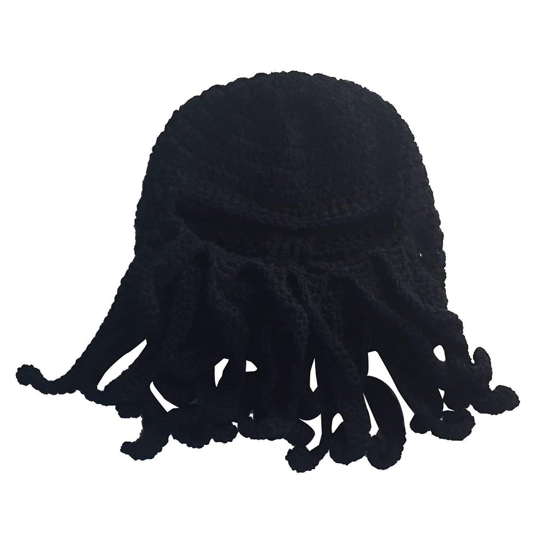 GQMART Wool Hat - New Handmade Knitting Wool Funny Beard Winter Octopus Hat&Cap Crochet Beanies Unisex Gift Black