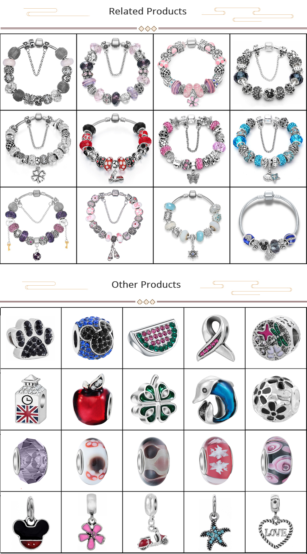 Custom made charms wholesale, colorful bracelet charms beads