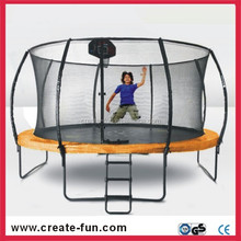 CreateFun 12ft Durable Round Trampoline Combo Basketball Stand