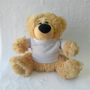 wholesale teddy bears with a poly t-shirt for printing customized plush toys