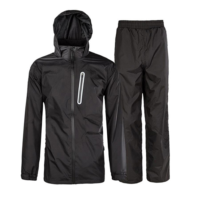 PU Coated Polyester Black Color Hooded Rain Wear Outdoor Packable Rain Suit