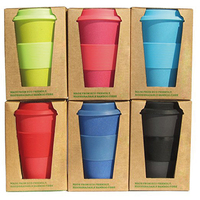 2019 new developed reusable biodegradable eco bamboo fiber coffee cup with lid