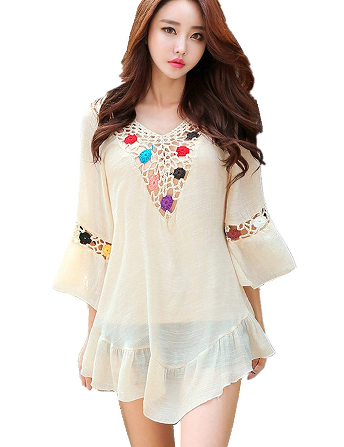 dc258ac486 Get Quotations · L-Peach Women's Summer V Neck Floral Knitted Crochet Tunic  Pareo Bikini Cover up Fashion