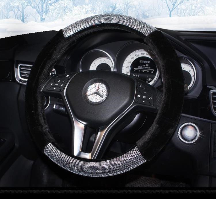 FX-M-035 Hot sale black plush with diamond glitter steering wheel cover