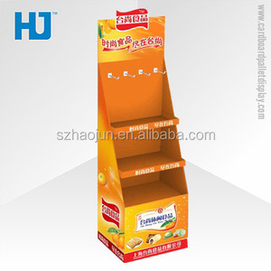 Custom paper cardboard counter top display corrugated snacks pallet display with peg hooks stand