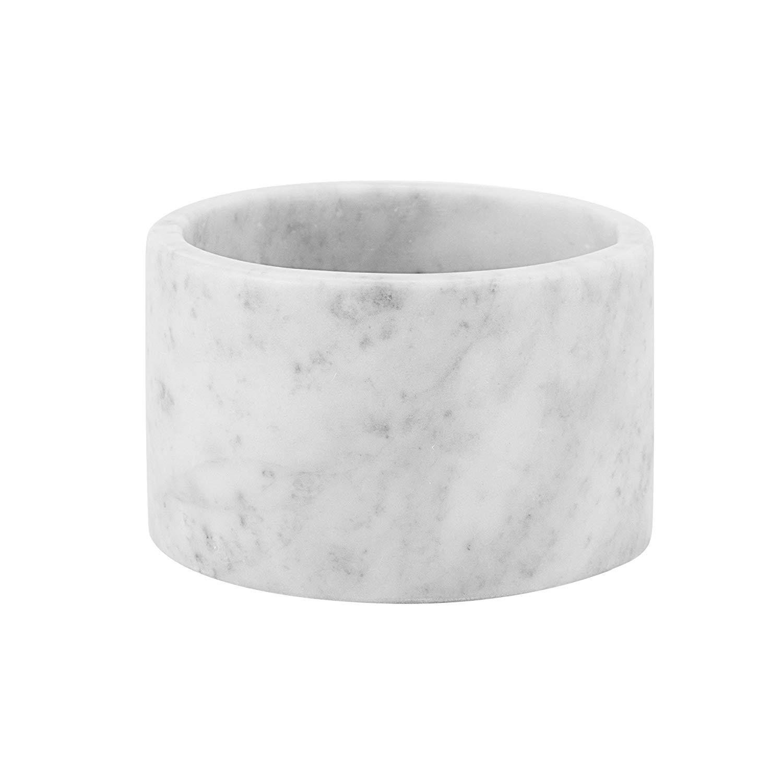 MAYKKE Isidora Carrara White Marble Canister | Modern Bathroom, Bedroom, Office Storage Organizer | Elegant Decorative Holder for Makeup Brushes, Accessories | White, NHA1270101