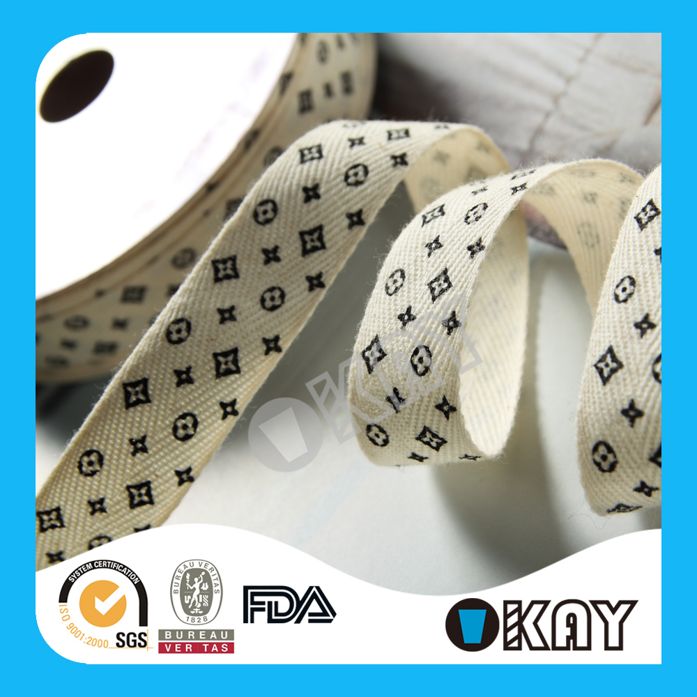 High Quality Crazy Selling 100% Organic Printed Cotton Ribbon