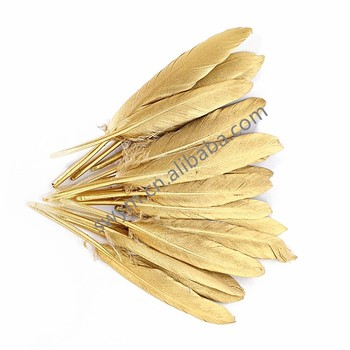 Wholesale Metallic Gold Goose Feathers Craft Gold Painted Goose Plume Feathers for Decoration