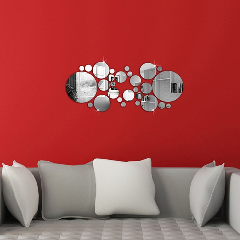 la venta caliente de plata lindo diy crculo espejo pegatinas de pared home dormitorio decoracin