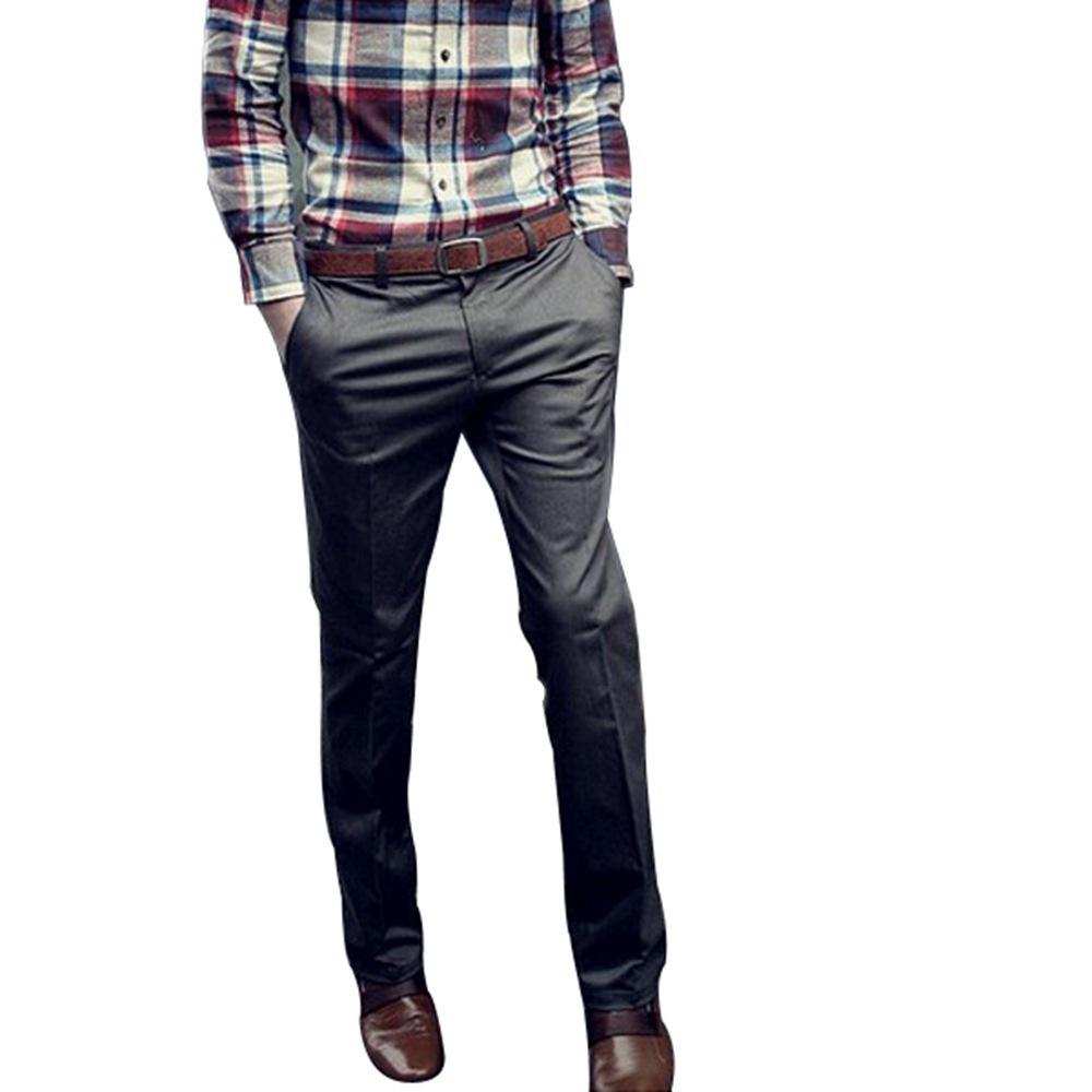 3 цвета осень зима мужчины приталенный Fit прямой хлопок бизнес костюмные брюки вилочная часть свободного покроя длинная брюки
