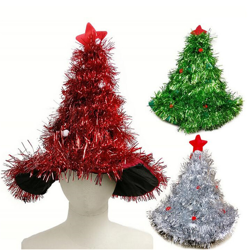 Christmas Tree Hat.Wholesale Tinsel Christmas Tree Hat Headband Decorations Fancy Dress Costume Hat Christmas Party Supplies Headgear For Halloween Make Party Hats Make