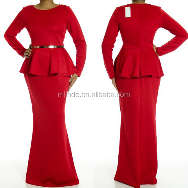 Plus Size Maxi Dresses Bulk Wholesale Red Fat Women Polyester Spandex Muslim Full Length Long Sleeve Peplum Maxi Dress Turkey