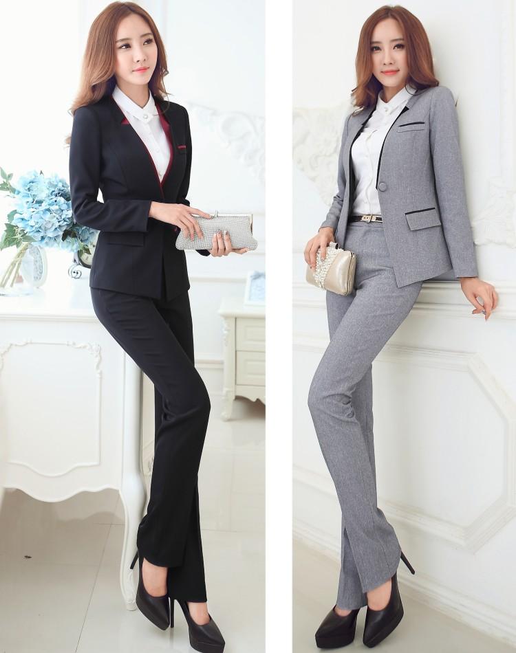 Оптовая продажа завод скидки! Черный / серый с длинным рукавом женские брюки костюмы с брюки формальных повседневной работе костюмы офис леди униформы