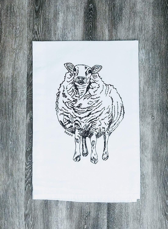 """Kitchen Towel - 26"""" x 25"""" - Flour Sack 100% Cotton Black Sheep"""