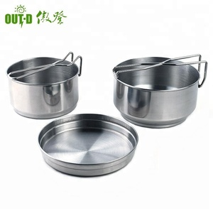 Outside and inside polish finishing stainless steel military camping pot frypan set