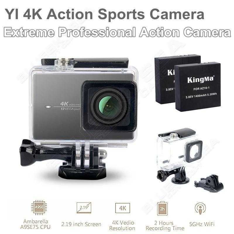 Бесплатная доставка! Xiaomi YI 4 К Wi-Fi Камера Действий II Ambarella A9SE75 Спорт Cam + Водонепроницаемый Футляр + Дополнительная 2 батареи