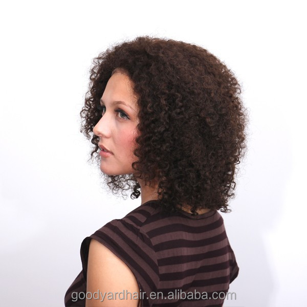 Afro Curl Malaysian Human Hair Full Lace Wig With Baby Hair