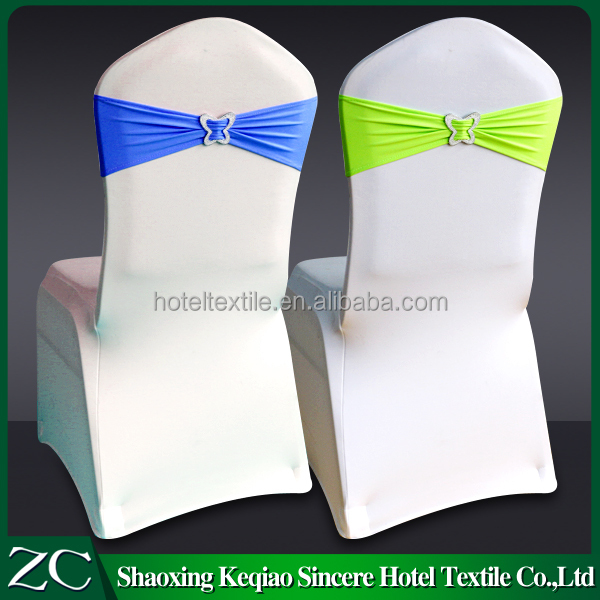 wholesale sale white hotel restaurant ruffle spandex chair sash for wedding