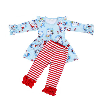 37961be2c Wholesale Kids Snowman Tunic Dress Match Red Striped Ruffle Pants Sets Baby  Boutique Clothing Girls Christmas