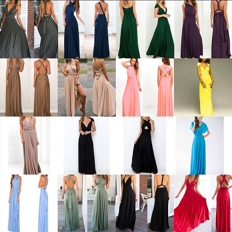 22LQ2035 Lady Women Sexy Multi Wrap Ways Prom Dress Long For Evening Party